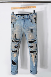 Yeni Stil Moda Erkek Düz Slim Fit Biker Jeans Pantolon Sıkıntılı Sıska Ripped Tahrip Denim Kot Yıkanmış Hiphop Pantolon 2216