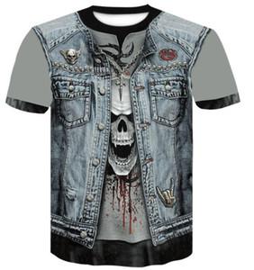 En 2019 online mağaza yuvarlak boyun 3D dijital kafatası baskılı t-shirt erkek kısa kollu Casual gevşek erkek giyim giyim Spor Outdoor baskılı