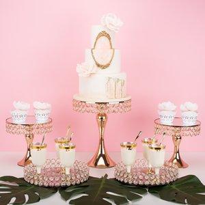 Торт Блинный торт лоток стенд Свадебный десерт Таблица украшения Золото Серебро Кристалл Другие выпекание