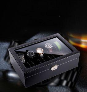 10pcs carbon design key lock fashion high quality wristwatch dustproof watch collection box case boxes 10 place watch accessories