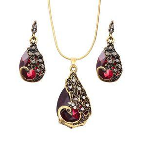 Set di gioielli pavone Orecchini con strass Collana perline africane Set di gioielli in costume Set di gioielli per festa nuziale con fidanzamento con goccia d'acqua