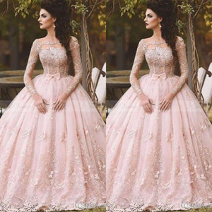 Vestidos 2020 Blush Pink Lace Ball Gown Quinceanera Dress Long Sleeves Boat Neck 3D Flora Princess Bridal Gowns Arabic Dubai BA5448