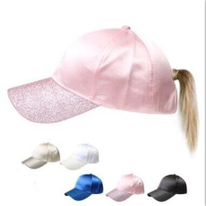 Ponytail Baseball Cap uni Caps Solid Ball Sport d'été chapeaux de soleil Femmes Mode Snapback Chapeau avec ouverture arrière Trucker poney Visor Caps D3
