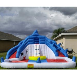 Надувной бассейн с горкой Всплеск Отказов House Shark Bouncer Water Park Game