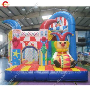 Zirkusthema aufblasbare Hüpfburg mit Rutsche handelsübliche dauerhafte aufblasbare Rutsche Türsteher Combo für Kinder Clown Thema aufblasbare Brücke