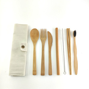 Bamboo Travel Cutlery Set Bamboo Fork Knife Spoon Chopsticks Straw Portable Carrying Pouch with Carabiner Wooden Utensils Set