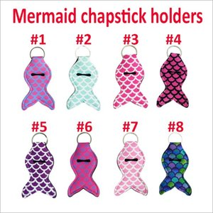 Vendita all'ingrosso Lily Mermaid Chapstick Holder Portachiavi Cover Custodia rossetto Lip Neoprene 8 colori di epacket