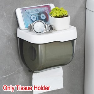 With Phone Rack Hygiene Odorless Transparent Accessories Wall Mounted Roll Holder Waterproof Paper Dispenser Tissue Box