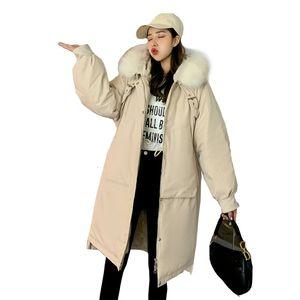 Вниз Женщины Parkas (TopFurMall) Европейский пальто куртки шерсти енота Толстовка тонкая талия Lady Длинные пиджаки Шинель LF9165 T191030