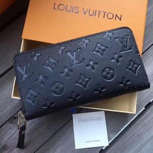 Мода кошелек кожаный Старый Цветочный Портмоне Длинный кошелек Полихроматическое Кошелек Lady Card Holder Классический Zipper карман с коробкой