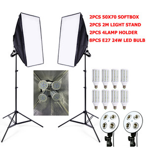 Freeshiping Photographic Lighting 8pcs 24w LED E27 Lampadina + 2 pz luce stand + 2 pps softbox flash riflettore interruttore Foto studio video kit di illuminazione