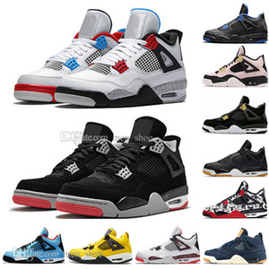 La mejor calidad New Bred 4 4s Lo que el Cactus Jack Laser Wings Zapatillas de baloncesto para hombre Azul Eminem Eminem Pale Citron Hombres Deportes Zapatillas de deporte