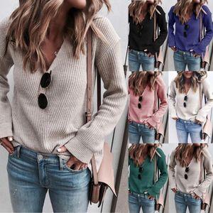 Женщины моды вяжет 2020 Весна Новое прибытие женщин Sexy V-образным вырезом с длинным рукавом свитера женщин вскользь Сплошной цвет Пуловер Женская одежда