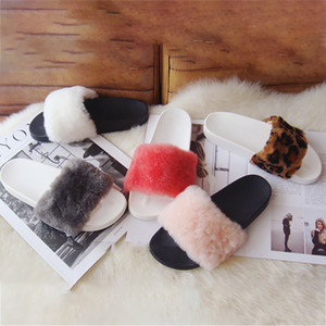 Fur Flat Slippers Wool Women Summer Shoes Indoor Fuzzy Plush Ladies Shoes 2019 New Outdoor Fluffy Slides Fashion Basic Slippers
