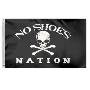 3x5 Ft No Shoes Nation Flag Banner - Pirate Skull Without Cowboy Hat Fan Club Polyester Flag with Brass Grommets
