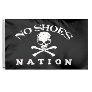 3x5 Ft No Shoes Drapeau Nation Banner - Crâne Pirate Sans Chapeau de cowboy Fan Club Drapeau polyester avec laiton Œillets