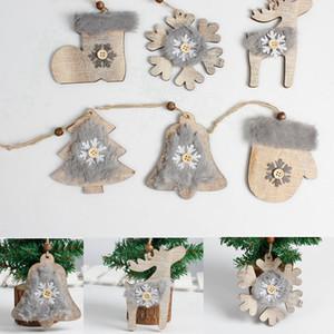 Madeira Natal enfeites sentiu Árvore de Natal Pendant rústica Xmas Tree Decor com Socks corda pendurada pingente xmas Decor adereços FFA3397