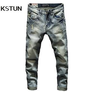 Erkek kot pantolon sıska erkekler ışık mavi streç işlemeli cepler delikli delikli slim fit rahat kot pantolon boys