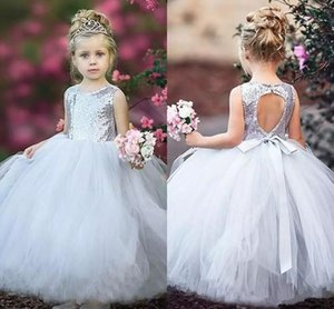 Sequins Top Flower Girl Dresses for Wedding Party O-Neck Sash Backless Pageant Dress Long Puffy Tulle Birthday Gowns