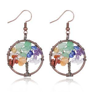 Vintage Bohemian Earrings for Women Girls Natural Stones Life Tree Shaped Dangle Earrings 11 Options Wholesale Jewelry