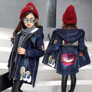 Meninas Denim Jacket para o Outono Inverno Adolescentes Crianças longas roupas menina miúdos Grosso Quente Casacos Casacos Denim algodão com capuz Jacket