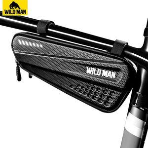 WILD MAN 자전거 가방 방우 전면 자전거 프레임 가방 하드 쉘 사이클링 삼각형 도구 MTB 액세서리
