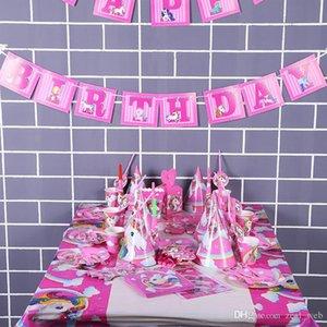 141pcs Unicorn Birthday Party Set Party Supplies Unicorn Set avec Vaisselle jetable gâteau Toppers, Party Kit Hanging Décoration