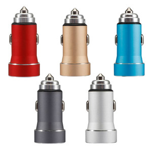 1A / 2.4A metallo Dual USB Car Charger mini cellulare di ricarica rapida dispositivo con luce Accessori Adattatore LED blu