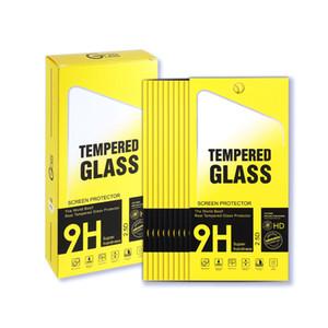 10 en 1 paquetes de la caja de papel de embalaje al por menor de color amarillo para iphone 11 pro x xr xs max 8 7 6 plus pantalla de vidrio templado película protector universal de