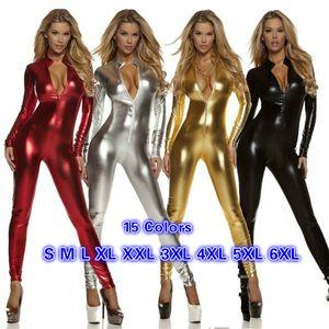 Long Sleeve Zentai Women Zipper High Neck Stretchy Jumpsuit Sexy Shiny Metallic Catsuit Pole Dancing Clubwear Halloween Costume