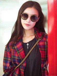 Gucci GG0061 bege prata / marrom sombreada óculos de sol redondos Sonnenbrille 0061s occhiali da sole 2018 óculos de sol de luxo Designer com caixa