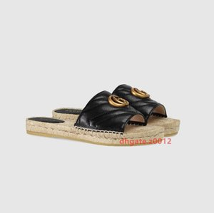 2020 Summer Beach Handwoven Seagrass Slippers for Women Straw Sandals home shoes handmade Brand Luxury designer straw slippers gg