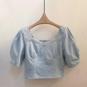 Korean Fashion Summer Denim Blouses Women's Elastic Back Blouse Sexy Crop Top Office Lady Puff Sleeve Short Shirt Tees Blusas