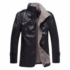 Jacke Lange Styles dicken Wintermantel Mens Fashion Warm Luxus PU-Lederjacke Herren-Leder