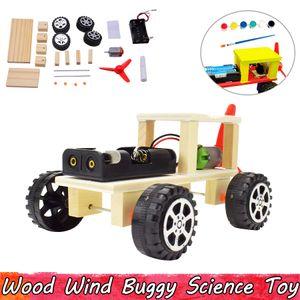 Legno Vento Buggy Esperimento Scienza Giocattoli DIY Assemblaggio Giocattoli educativi per bambini Migliorare i doni di abilità del cervello