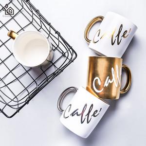 Entertime Electro-плакировкой керамическая кружка кофе с серебро/золото ручка чашки молока стакан
