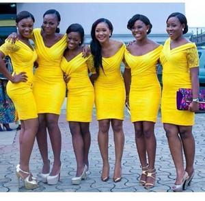 Giallo Moderno Bridesmaids abiti corti Bridemaid fodero bicchierino della spiaggia da damigella d'onore su ordine Plus Size Black Girl Dres