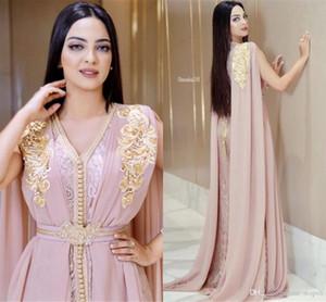 Vestidos blush rosa frisados muçulmanos Vestidos longos luxo Dubai marroquina Kaftan Vestido Chiffon V Neck Evening Partido vestido formal