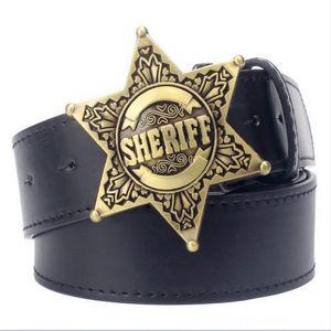 Fashion Mens belt metal Belts Belts & Accessories buckle belts Sheriff badge Retro Hexagon star sign western style cowboy Pu leather belt