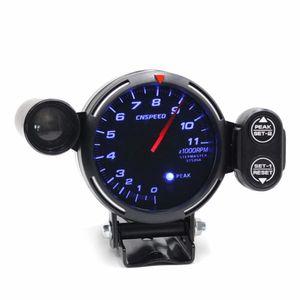 """전문 알루미늄 12V 3.5 """"직경 자동차 타코미터 게이지 키트 컬러 LED 자동 측정기 + 스테핑 모터 RPM 시프트 라이트"""