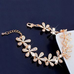 LNRRABC Women Golden Silvery Bracelet Snowflake Crystal Set Rhinestones Charm Gift Fashion Jewelry