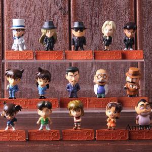 액션 피규어 형사 코난 케이스 휴무 Shinichi Kudo Conan Edogawa Haibara 아이 모리 Ran Kaitou Kiddo 미니 인형 장난감 15pcs / set