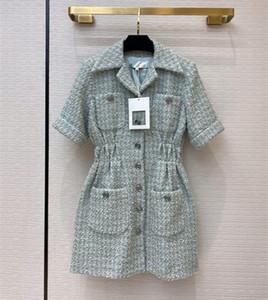 Европейские и американские женской одежды 2020 лето новый стиль с короткими рукавами лацкане однобортный Tweed фрак