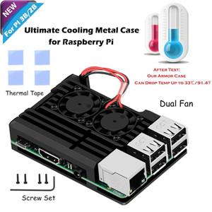 Dual del ventilador del disipador térmico del ventilador para Raspberry Pi Modelo B 3/2, bricolaje recinto Kit: caja de metal, 4 cintas térmicas Pack, tornillos de montaje y la herramienta Tornillo