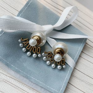 C1946 Trendy retro style letter scalloped size pearl pendant ear stud personality before and after the tassel earrings