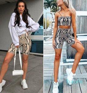 мода-лето Sexy Womens Yoga Set Snake Skin Print Tube Top с высокой талией Шорты Bodycon из двух частей наборы повседневная одежда спортивные наборы