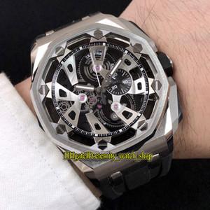 Yeni Ucuz Yüksek Sürüm Royal 26421st.OO.A002CA.01 İskelet Siyah Dial Çelik Kılıf Japonya VK Kuvars Chronograph Mens Watch Lastik Spor Saatler