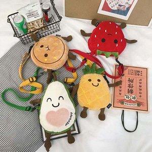 Avokado Ananas Karikatür Sevimli Kawaii Messenger Çanta Omuz Çantası Cüzdan Meyve Peluş Kızlar Çanta