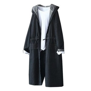 Jean Trench Coats Fashion Big Pockets Elastic Waist Single Breasted Jean Hooded Coats Females Clothing Vintage Womens Designer