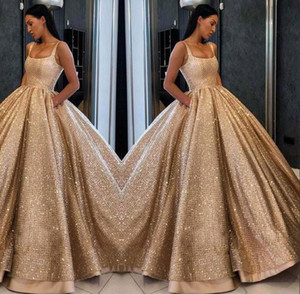 Luxury Blingbling Gold Sequined Ball Gown Pageant Dresses Gorgeous Floor Length Prom Party Gown Square Neck Evening Dress